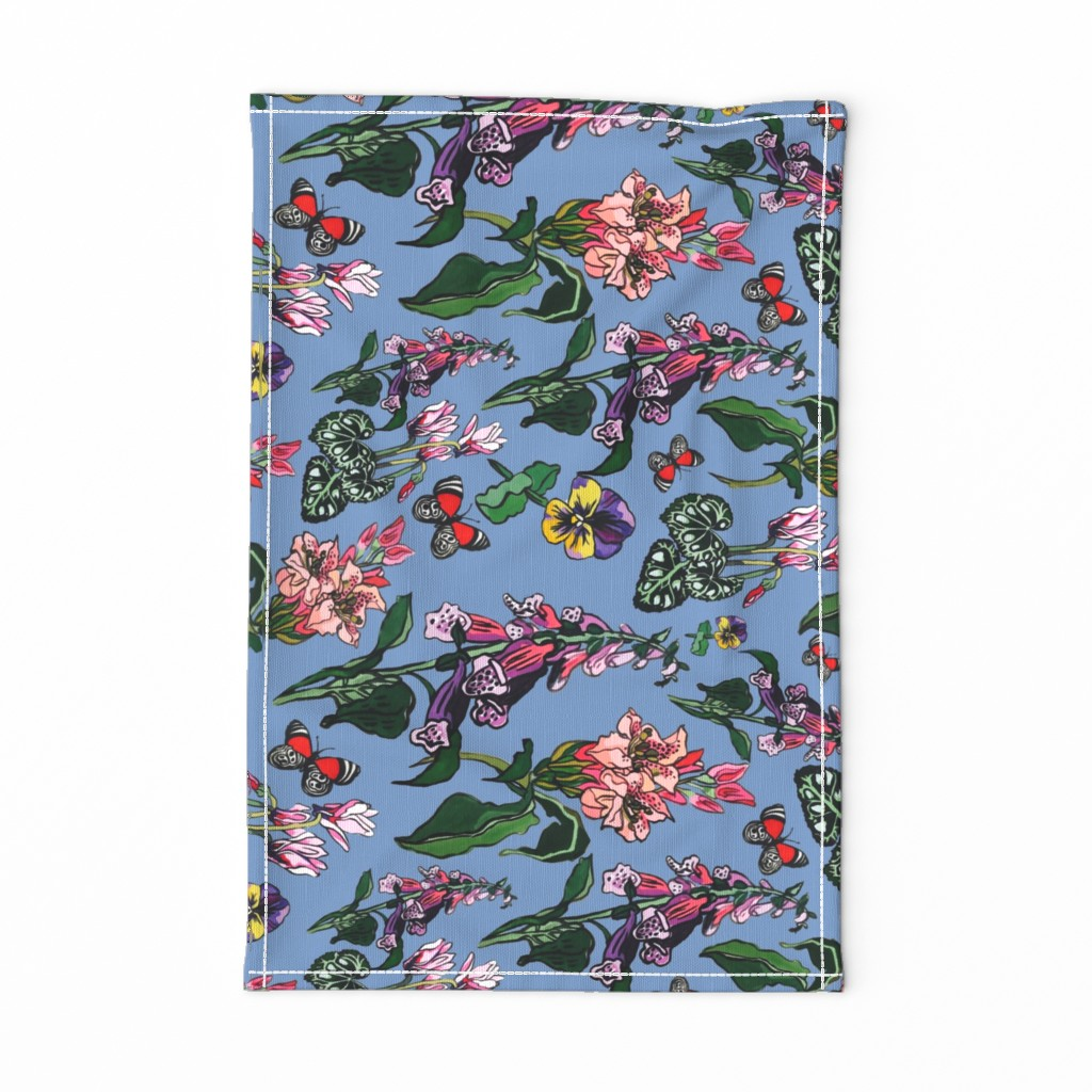 Special Edition Spoonflower Tea Towel featuring pink and blue garden flowers by ariellelouise