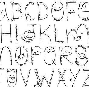 doodle alphabet black and white:: halloween