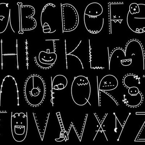 doodle alphabet white and black :: halloween