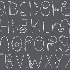 doodle alphabet white and dark grey :: halloween
