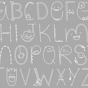 doodle alphabet white and light grey :: halloween