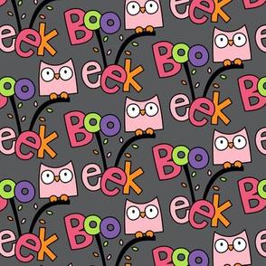 doodle owls pink on dark grey :: halloween