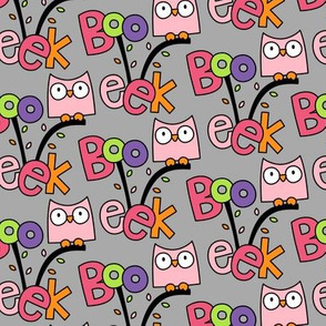 doodle owls pink on light grey :: halloween