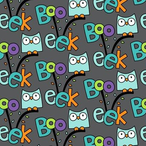 doodle owls teal on dark grey :: halloween
