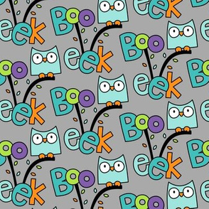 doodle owls teal on light grey :: halloween