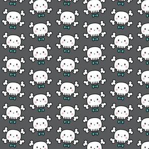 boy doodle skulls on dark grey - small