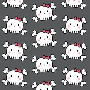 girl doodle skulls on dark grey