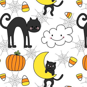 doodle cats on white :: halloween
