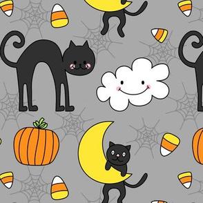 doodle cats on light grey :: halloween