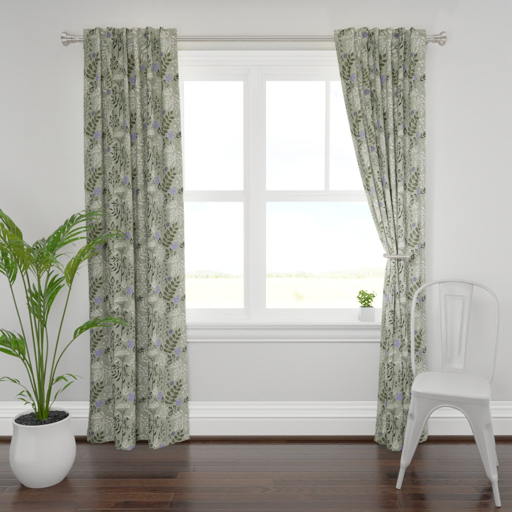 Plymouth Curtain Panel featuring Floral_Block_Print__neutral_V_ by chicca_besso