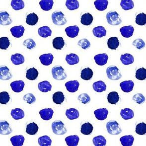 Watercolor blue polka dot