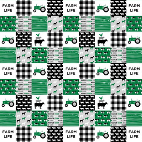 "(2"" small scale)  farm life - wholecloth green and black - woodgrain"