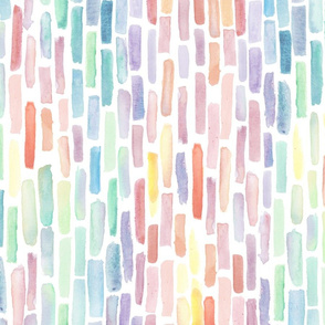 Vertical Rainbow Gradiant Watercolor Brush stroke large