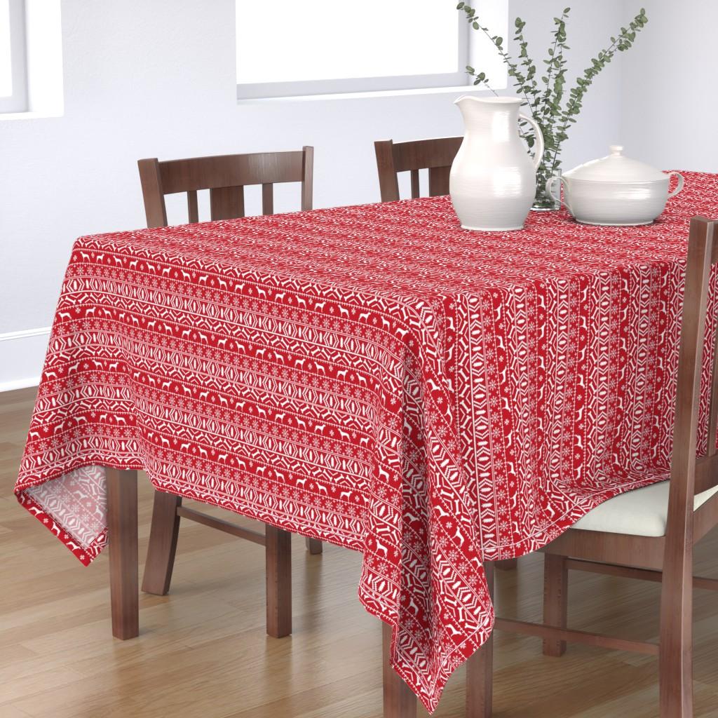 Bantam Rectangular Tablecloth featuring Weimaraner dog fabric - fair isle christmas design - red by petfriendly