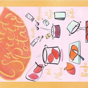 candied sweet potatoes recipe tea towel