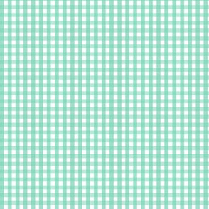 tiny gingham sea foam green