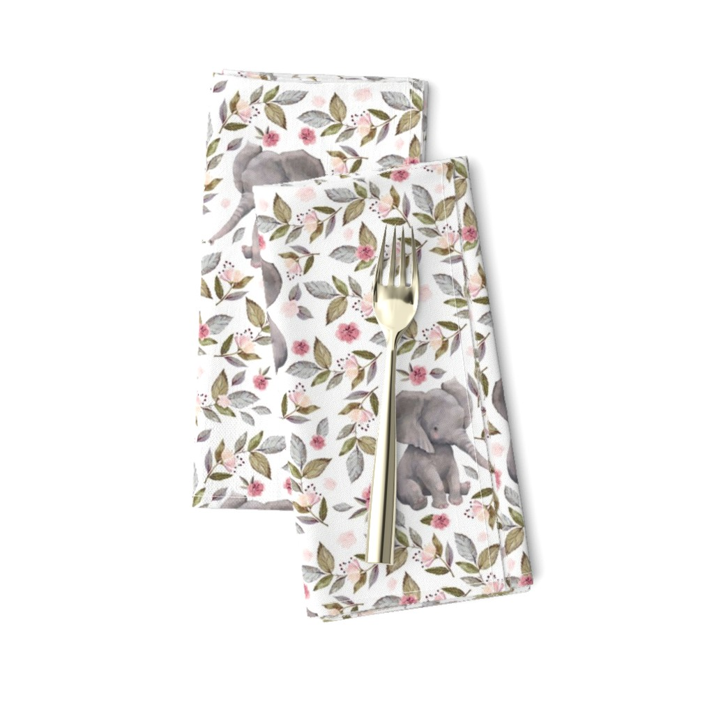 "Amarela Dinner Napkins featuring 8"" Baby Elephant with Flowers/ NO CROWN  / Mix & Match by shopcabin"