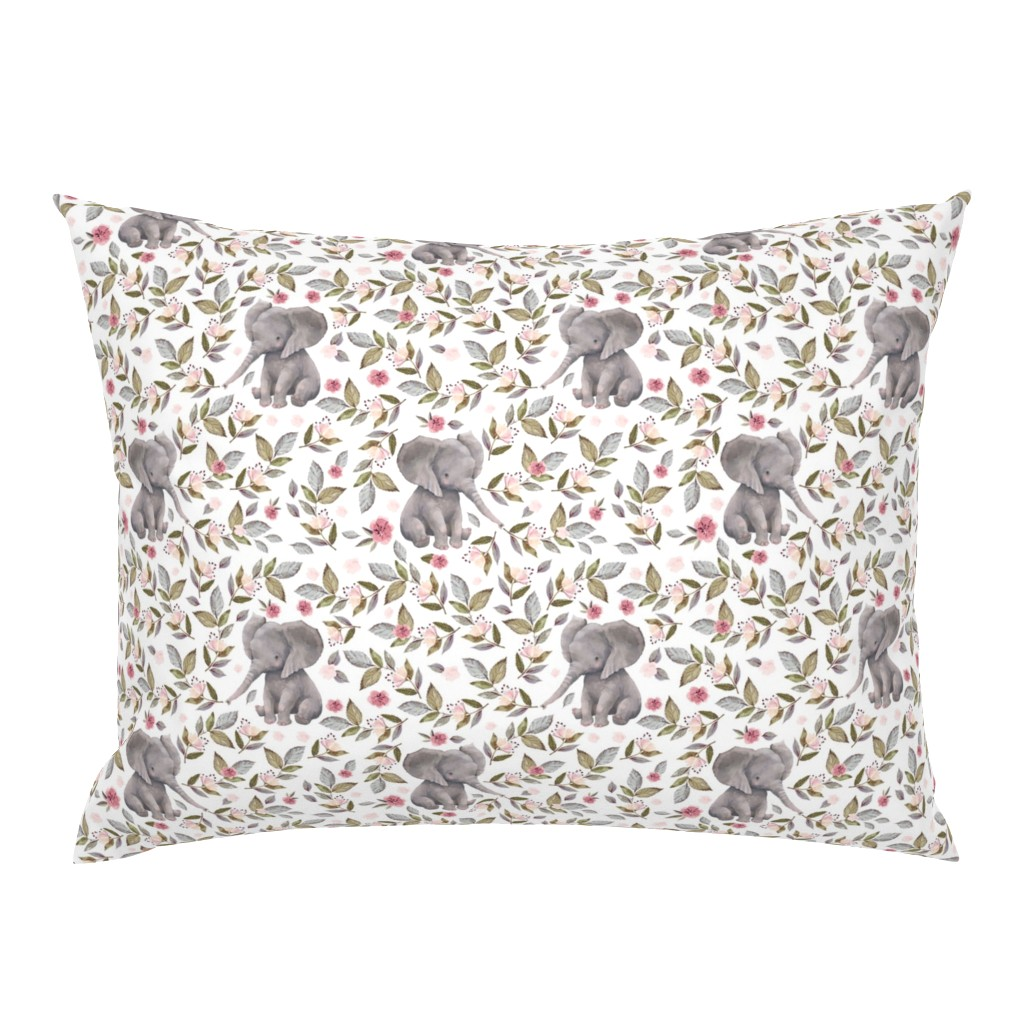 "Campine Pillow Sham featuring 8"" Baby Elephant with Flowers/ NO CROWN  / Mix & Match by shopcabin"