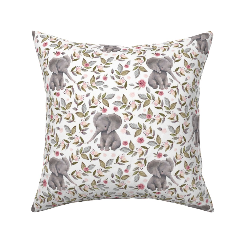 """Catalan Throw Pillow featuring 8"""" Baby Elephant with Flowers/ NO CROWN  / Mix & Match by shopcabin"""