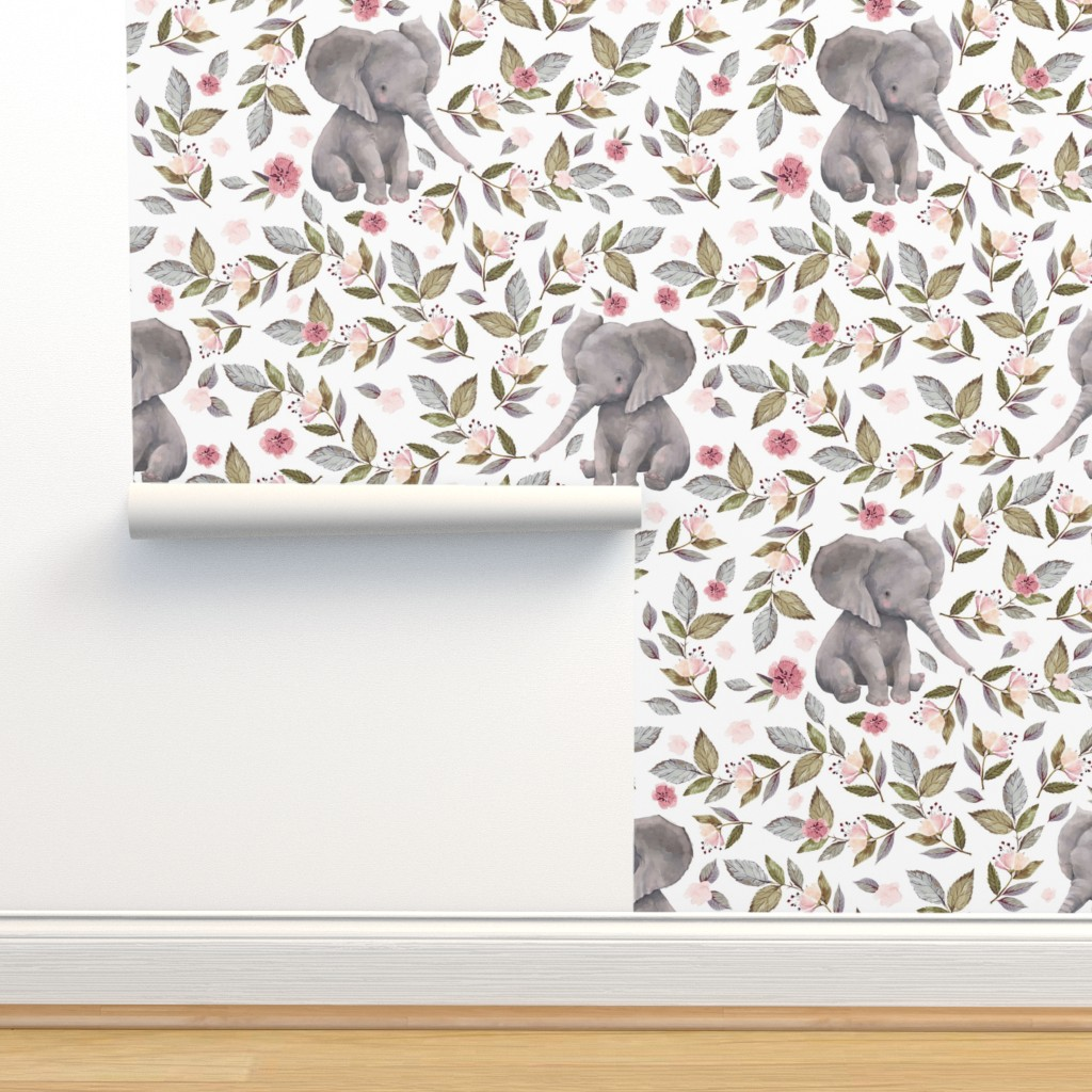 "Isobar Durable Wallpaper featuring 8"" Baby Elephant with Flowers/ NO CROWN  / Mix & Match by shopcabin"