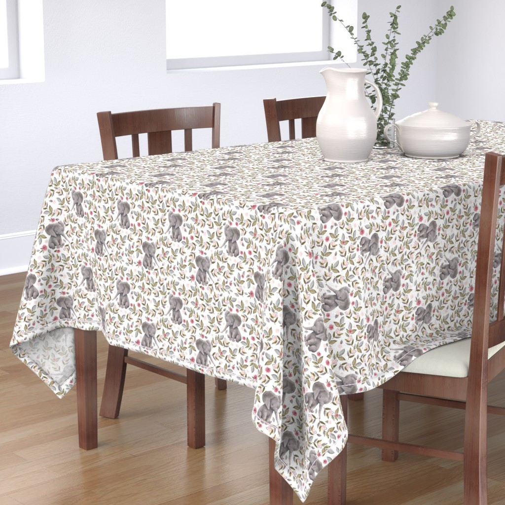 """Bantam Rectangular Tablecloth featuring 8"""" Baby Elephant with Flowers/ NO CROWN  / Mix & Match by shopcabin"""
