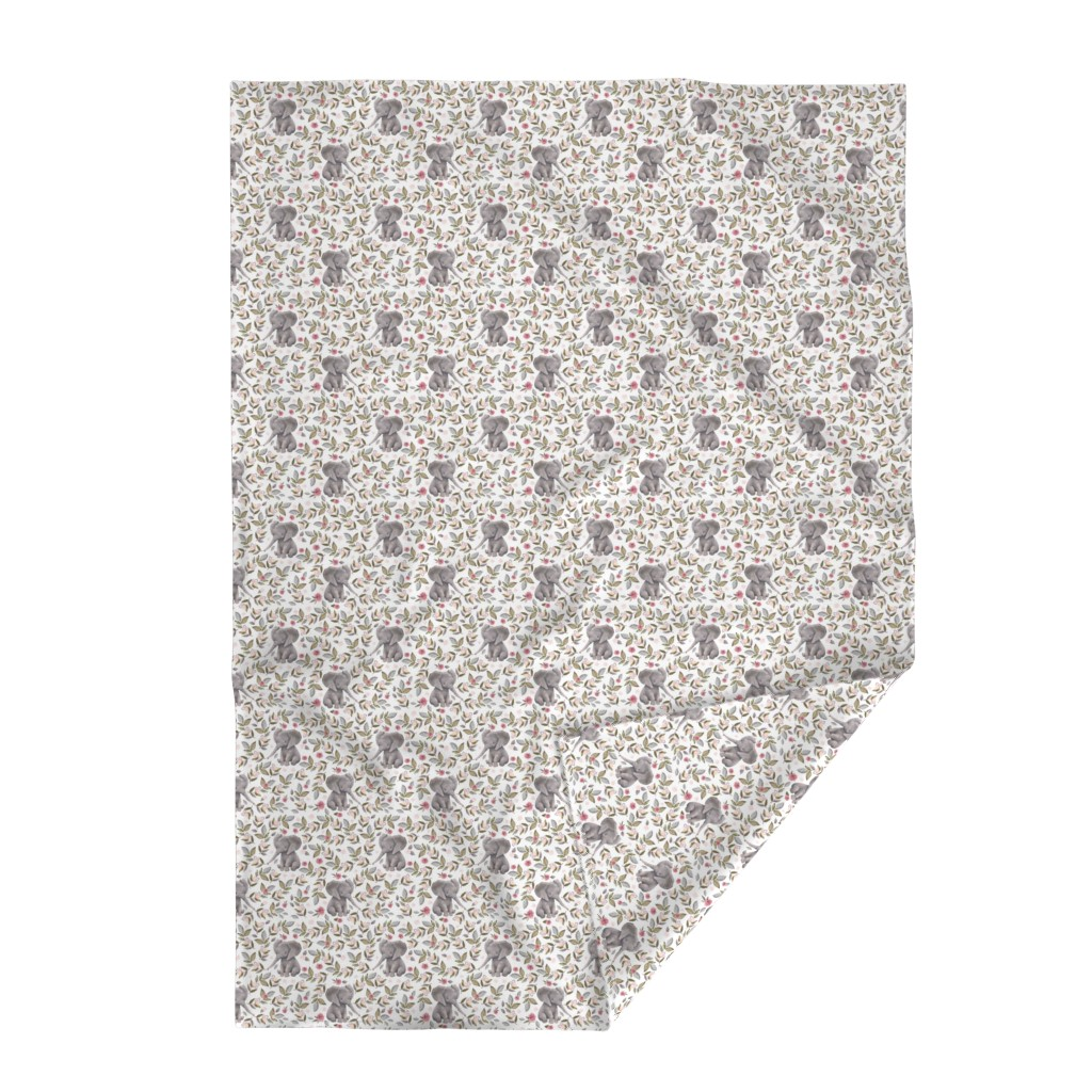 """Lakenvelder Throw Blanket featuring 8"""" Baby Elephant with Flowers/ NO CROWN  / Mix & Match by shopcabin"""