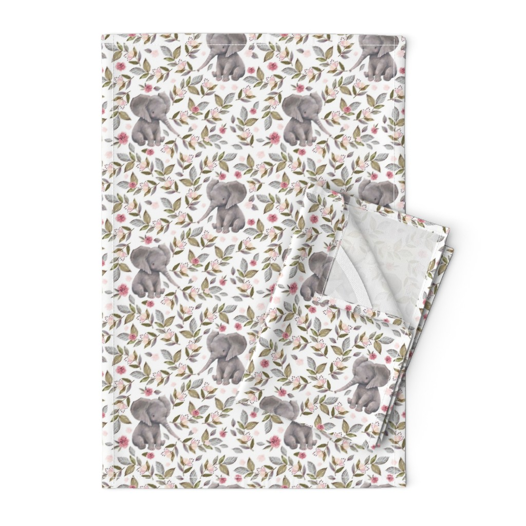 "Orpington Tea Towels featuring 8"" Baby Elephant with Flowers/ NO CROWN  / Mix & Match by shopcabin"