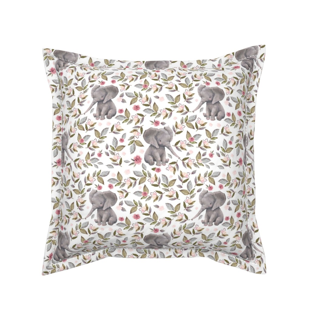 """Serama Throw Pillow featuring 8"""" Baby Elephant with Flowers/ NO CROWN  / Mix & Match by shopcabin"""