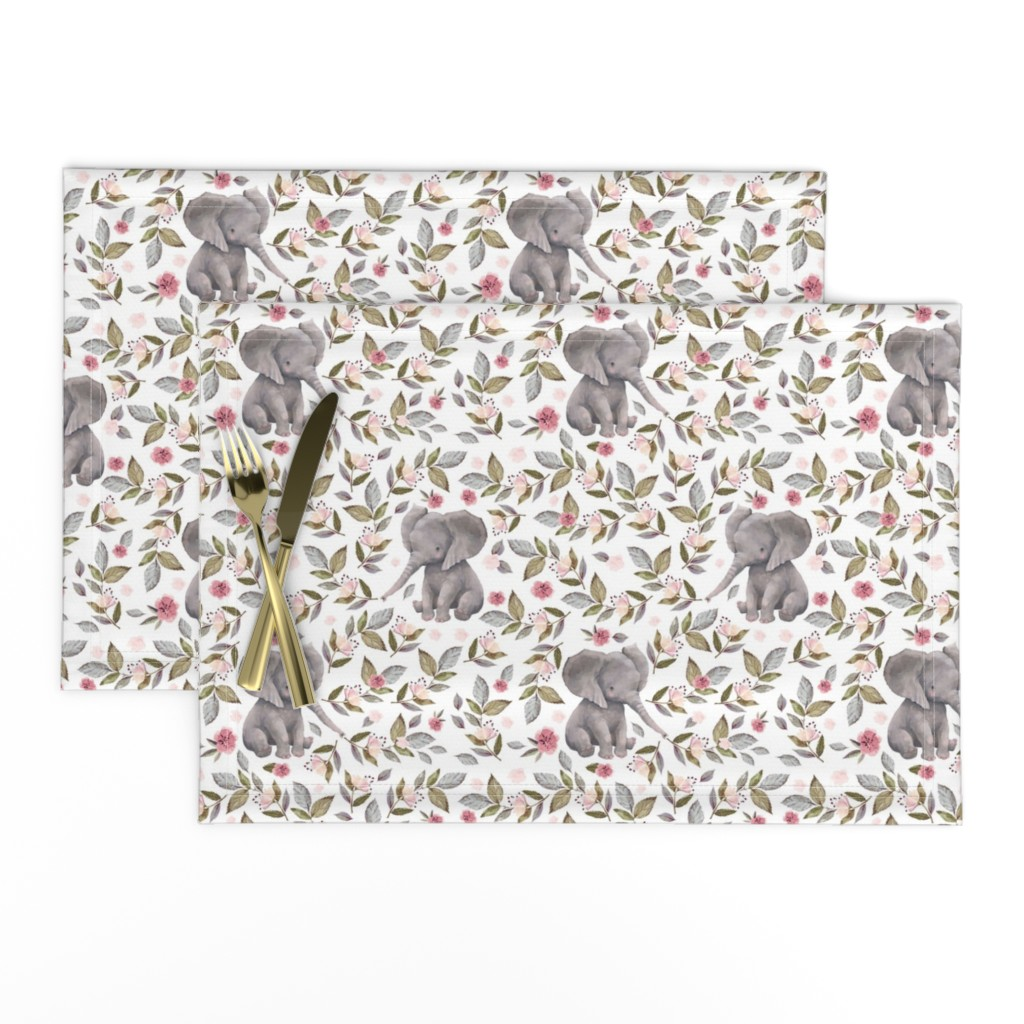 "Lamona Cloth Placemats featuring 8"" Baby Elephant with Flowers/ NO CROWN  / Mix & Match by shopcabin"