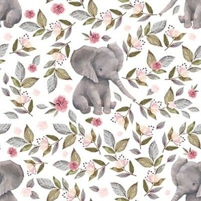 "8"" Baby Elephant with Flowers/ NO CROWN  / Mix & Match"