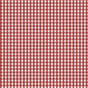 tiny gingham dark red