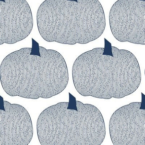 Blue Navy Pumpkins on white