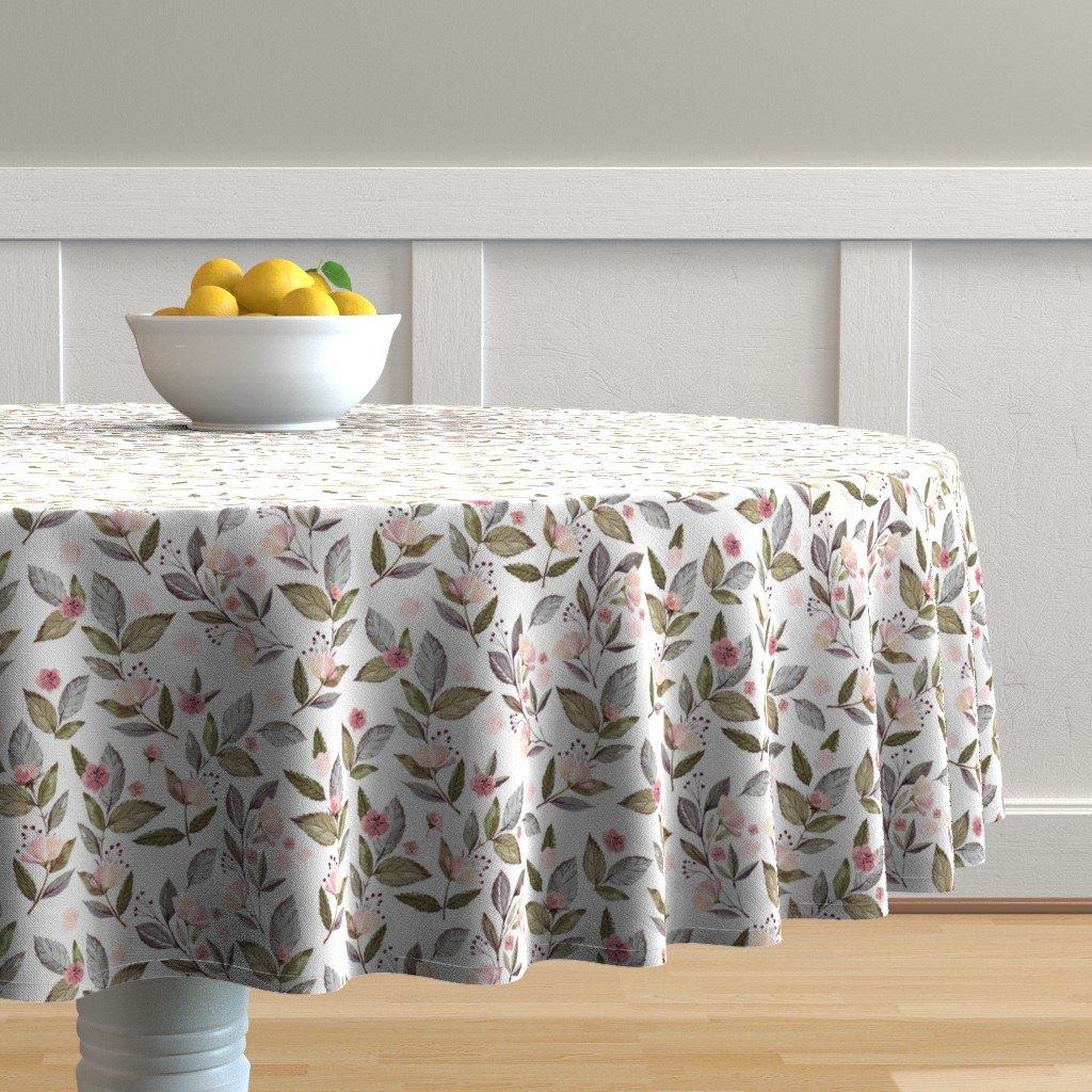 "Malay Round Tablecloth featuring 8"" Spring Floral Petal Pink Mix and Match Print by shopcabin"