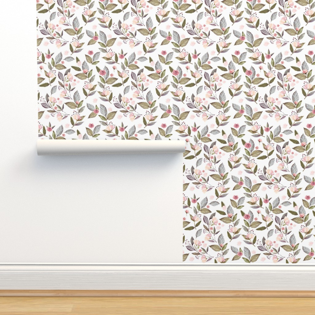 "Isobar Durable Wallpaper featuring 8"" Spring Floral Petal Pink Mix and Match Print by shopcabin"