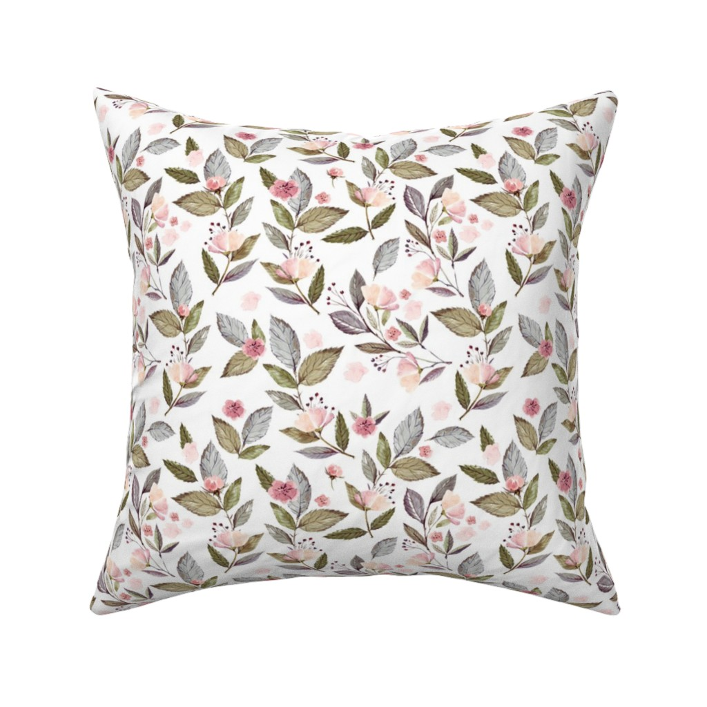 "Catalan Throw Pillow featuring 8"" Spring Floral Petal Pink Mix and Match Print by shopcabin"