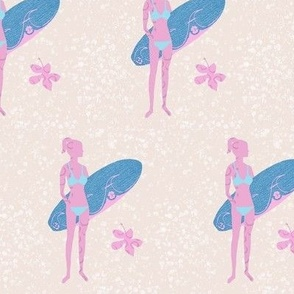 Surf Bunny on sand//girls surf fabric. modern seaside fabric