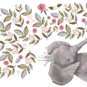 "54""x36"" Baby Elephant with Flowers & Crown"