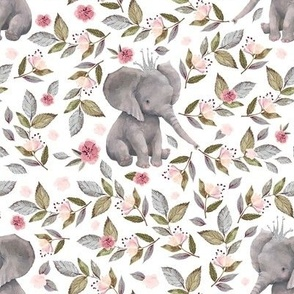 "8"" Baby Elephant with Crown & Florals /  Mix & Match"