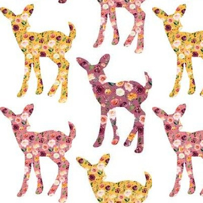 """3"""" Floral Fawn Silhouettes"""