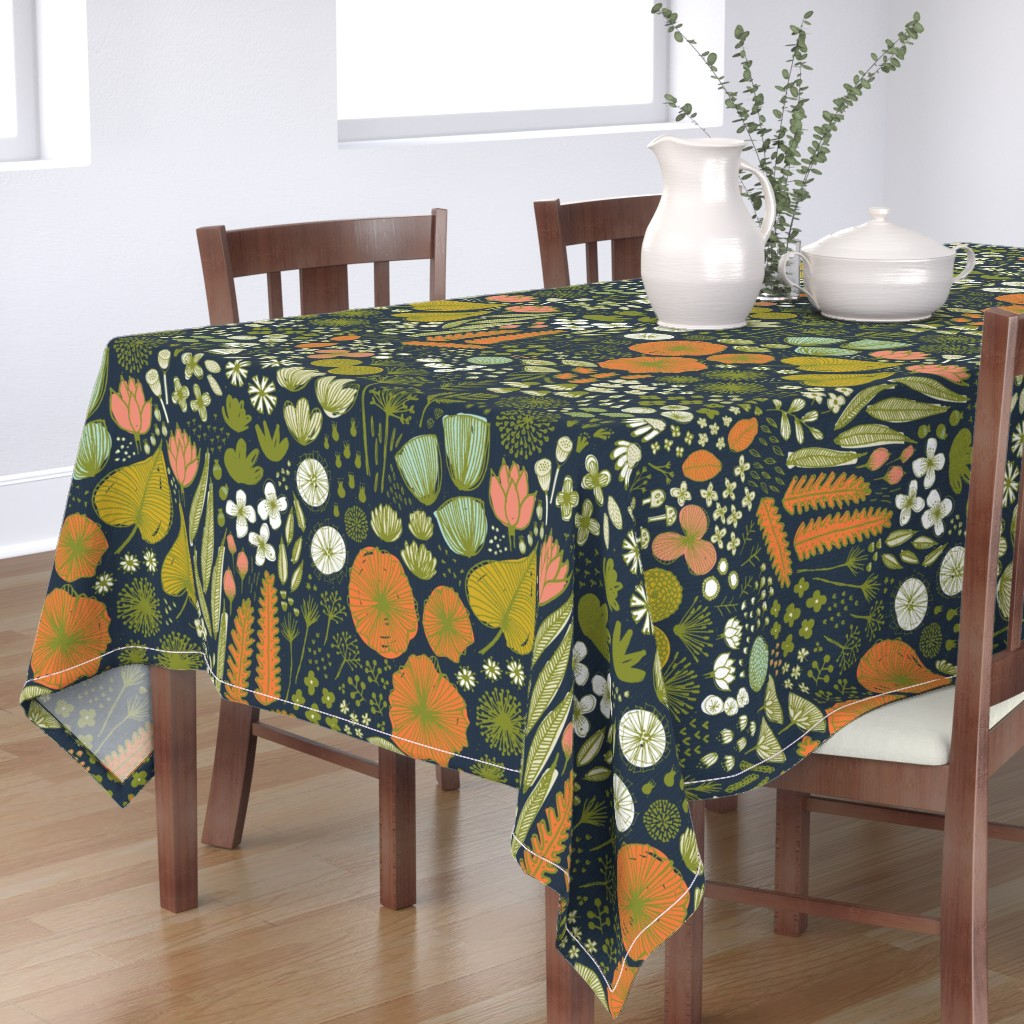 Bantam Rectangular Tablecloth featuring Botanical Sketchbook M+M Navy by Friztin by friztin