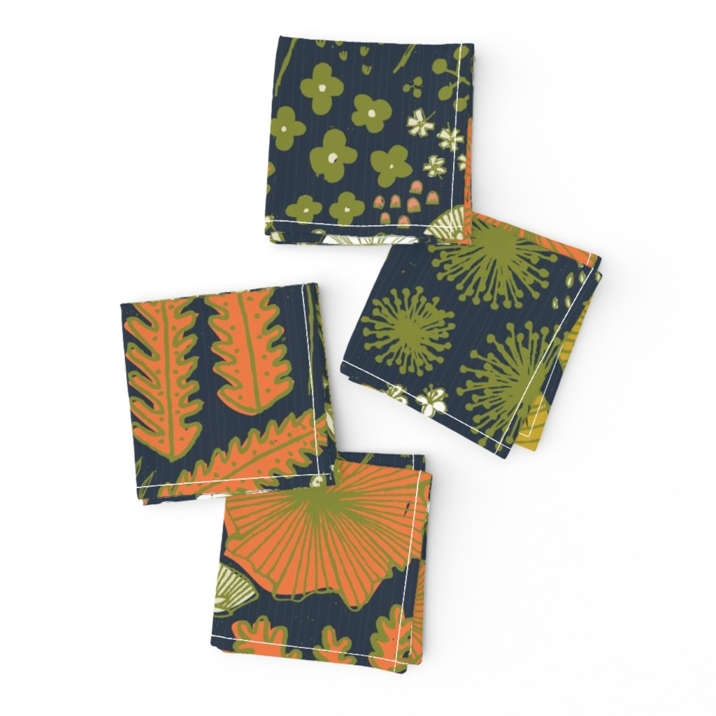 Frizzle Cocktail Napkins featuring Botanical Sketchbook M+M Navy by Friztin by friztin