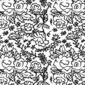 Black and White Cottage Rose Sketch