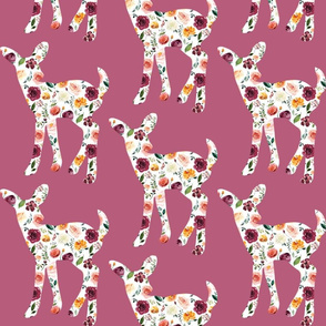 """6"""" Floral Fawn Silhouettes on Mauve"""