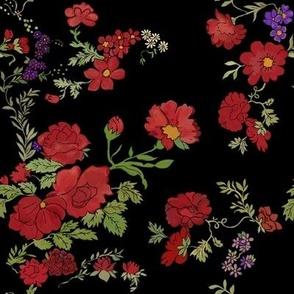 Project 397 | Red Cottage Rose on Black (original)