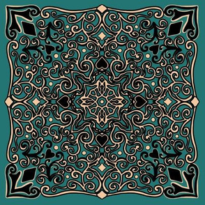Project 275 | Square Mandala Gold and Black Mandala on Green