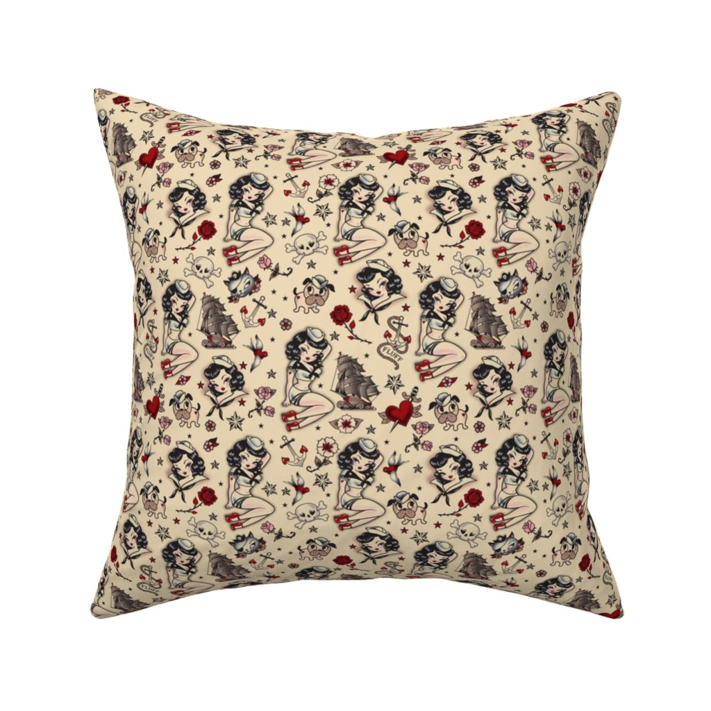 Catalan Throw Pillow Featuring Suzy Sailor Retro Tattoo SMALL By Miss Fluff