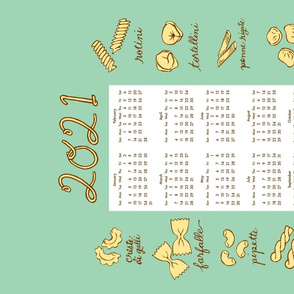 2020 pasta tea towel calendar