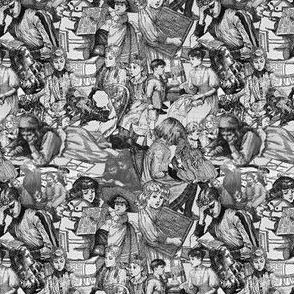 Victorian Books Toile Black & White Fabrics Collection