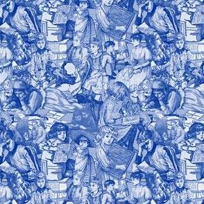 Victorian Books Toile Blue Fabrics Collection