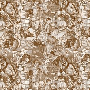 Victorian Books Toile Brown Fabrics Collection
